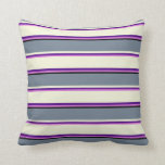 [ Thumbnail: Orchid, Indigo, Beige, Slate Gray & Black Colored Throw Pillow ]