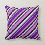 [ Thumbnail: Orchid, Indigo, Gray, Lavender & Black Colored Throw Pillow ]