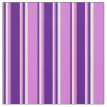 [ Thumbnail: Orchid, Indigo & White Striped Pattern Fabric ]