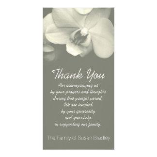 Orchid Kaki Sympathy Thank you Photo Card 1
