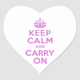 Orchid Keep Calm and Carry On Heart Sticker