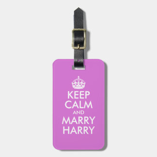 Orchid Keep Calm and Marry Harry Luggage Tag