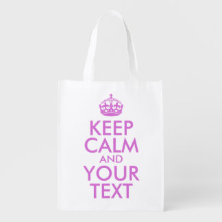 Orchid Keep Calm and Your Text Grocery Bags