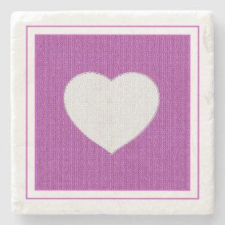 Orchid Knit Stockinette Stitch - White Heart Stone Coaster