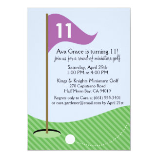 Orchid Let's Par-Tee Miniature Golf Birthday Party Card
