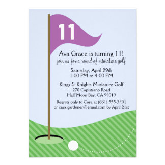 Orchid Let's Par-Tee Miniature Golf Birthday Party Personalized Invitation