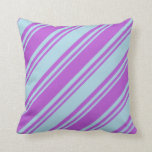 [ Thumbnail: Orchid & Light Blue Striped/Lined Pattern Pillow ]
