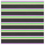 [ Thumbnail: Orchid, Light Cyan, Lime Green, Tan & Black Lines Fabric ]