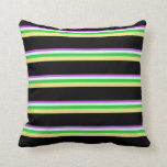 [ Thumbnail: Orchid, Light Cyan, Lime Green, Tan & Black Lines Throw Pillow ]