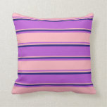 [ Thumbnail: Orchid, Light Pink, and Midnight Blue Pattern Throw Pillow ]
