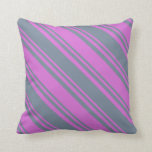 [ Thumbnail: Orchid & Light Slate Gray Colored Pattern Pillow ]