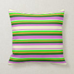 [ Thumbnail: Orchid, Light Yellow, Lime, Goldenrod & Dark Green Throw Pillow ]