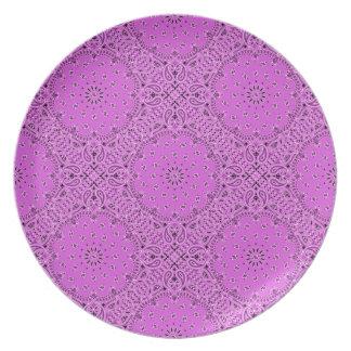 Orchid Lilac Paisley Western Bandana Scarf Fabric Plate