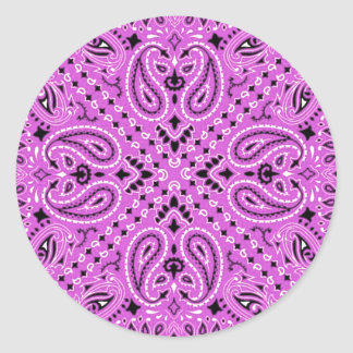 Orchid Lilac Paisley Western Bandana Scarf Print Classic Round Sticker