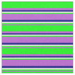 [ Thumbnail: Orchid, Lime, Beige & Blue Stripes Fabric ]