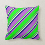 [ Thumbnail: Orchid, Lime, Beige & Blue Stripes Throw Pillow ]