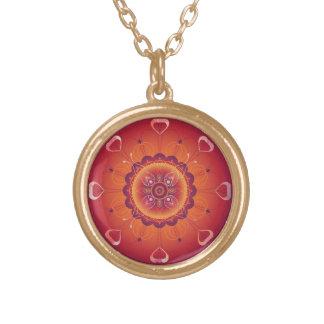Orchid Mandala Keepsake Charm Gold Plated Necklace