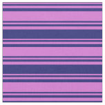 [ Thumbnail: Orchid & Midnight Blue Colored Lines Fabric ]