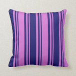 [ Thumbnail: Orchid & Midnight Blue Colored Lines Throw Pillow ]