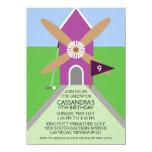 Orchid Miniature Golf Windmill Birthday Party 4.5x6.25 Paper Invitation Card
