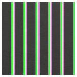 [ Thumbnail: Orchid, Mint Cream, Lime & Black Colored Lines Fabric ]