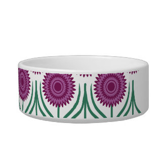 Orchid Modern Floral Pattern-White Pet Food Bowls