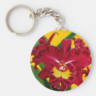 Orchid Oil on Canvas Key Chain