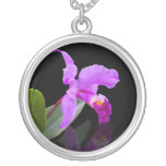 Orchid on Black Necklace