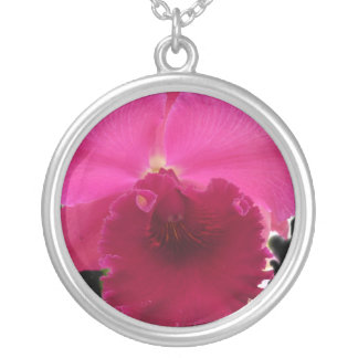 Orchid On Black Round Pendant Necklace
