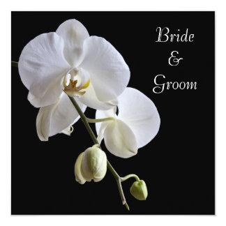 Orchid on Black Square Wedding Invitation