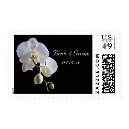 Orchid on Black Wedding Postage Stamps