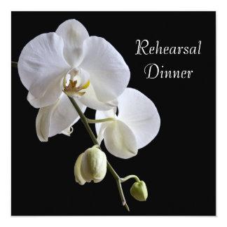Orchid on Black Wedding Rehearsal Dinner Invite