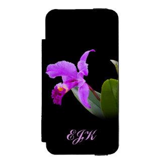 Orchid on Black with Customizable Monogram Incipio Watson™ iPhone 5 Wallet Case