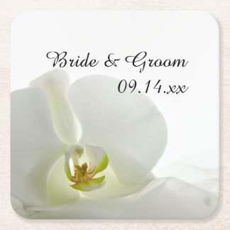 Orchid on White Wedding Square Paper Coaster