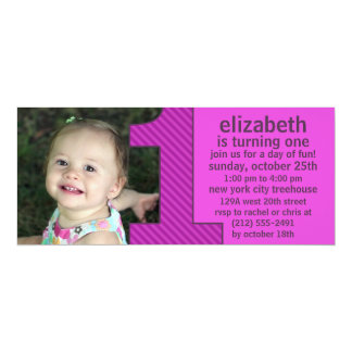 """Orchid One Is Fun Photo First Birthday Party 4"""" X 9.25"""" Invitation Card"""
