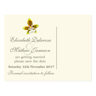 Orchid painted flower save the date card