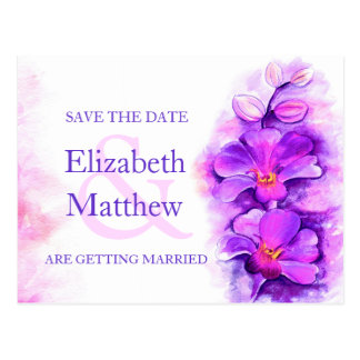 Orchid painted purple flower save the date card