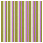 [ Thumbnail: Orchid, Pale Goldenrod & Green Striped Pattern Fabric ]