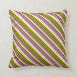 [ Thumbnail: Orchid, Pale Goldenrod & Green Striped Pattern Throw Pillow ]