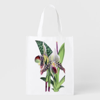 ORCHID Paphiopedilum Argus Reusable Bag Market Tote