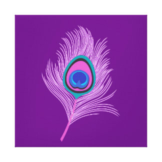 Orchid Peacock Feather on Amethyst Purple Canvas Print