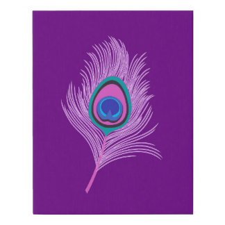 Orchid Peacock Feather on Amethyst Purple Faux Canvas Print