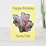 """Orchid photography Birthday card wife friend nana<br><div class=""""desc"""">I have created this beautiful greetings card using my orchid photography. You can place your own message inside or leave blank. Please take a look at my matching items.</div>"""