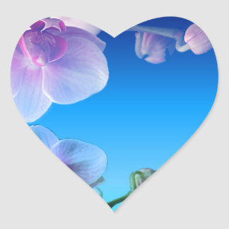 Orchid Pink Blue Sky Vine Customize Heart Sticker