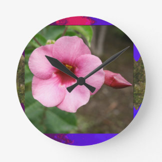ORCHID pink flower n BUD Love Dating Children Kid Round Wall Clock