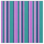 [ Thumbnail: Orchid, Plum, Midnight Blue & Dark Cyan Lines Fabric ]