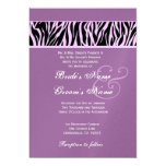 Orchid Purple and Black  Zebra Wedding Metallic Personalized Announcements