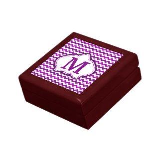 Orchid Purple Chevron Personalized Monogram Keepsake Boxes