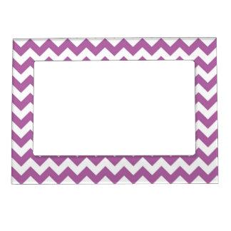 Orchid Purple Chevron Zig-Zag Pattern Photo Frame Magnet