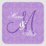 Orchid Purple Damask Wedding  Monogram S530A Square Stickers